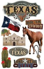 PAPER HOUSE TEXAS TRAVEL VACATION DIMENSIONAL 3D SCRAPBOOK STICKERS