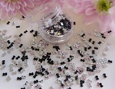3mm Pink Silver Black Mix Rhinestone Bow Gem Pot App550 Flat Back Nail Art Craft