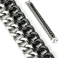 Urban Male Double Stainless Steel Black & Silver Curb Link Chain Bracelet Mens