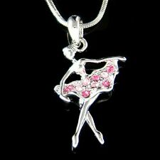 w Swarovski Crystal Pink BALLERINA The Nutcracker Ballet Dancer Pendant Necklace