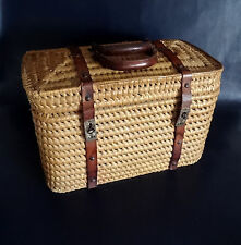French Antique Woven Wicker/Straw Handled Basket/Carryall