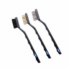 MINI WIRE BRUSH SET 3 PCS BRASS NYLON & STAINLESS STEEL BRISTLE JEWELRY CLEANING