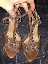 bottega veneta Italy brown woven leather laser cut heels sandals 9 1/2 $1200