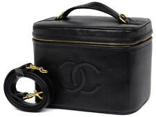 AUTH CHANEL-CC-2way-Cosmetic-Vanity-Hand-Bag-Black-Cavia-Leather-VTG