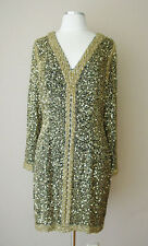 VINTAGE BLACKTIE OLEG CASSINI SILK BEADS SEQUINS EVENING COCKTAIL DRESS GOWN