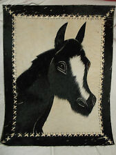 COWHIDE COW LEATHER ART HORSE PICTURE WALL HANGING TAPESTRY BLACK & WHITE 24X19