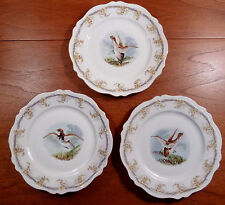 "Series of 3 vintage OE&G Royal Austria game bird 8-3/4"" wall or cabinet plates"