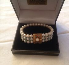 18CT GOLD TURQUOISE & PEARL BRACELET