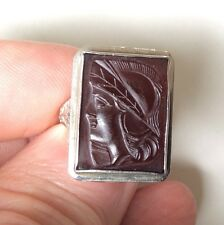 18k White Gold Antique Carved Carnelian Intaglio Knight Ring Size 5