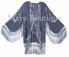 Embroidered Silk Fringe Jacket Flamenco Kimono Lilac Grey Short Maya Matazaro