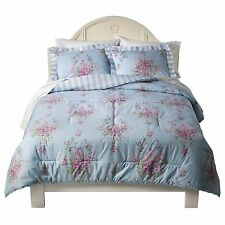 New Simply Shabby Chic Cottage Rose Comforter Set 3 Pcs Blue King