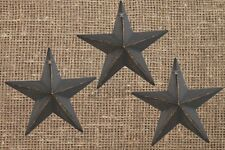 Lot of 3 Antique Black Metal Barn Stars - 5.5 in. Rustic Country Primitive NWT