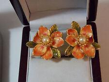 Joan Rivers Peach Coral Enamel Flower Pearl Clip on Gold tone Earrings 11g32