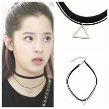 Vintage Gothic Double Cord Necklace Leather Choker Charm Triangle Pendant Bib