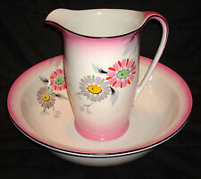 Vintage Hanley England Royal Falcon Ware Pink HP Daisy Wash Basin Bowl & Pitcher