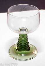 ONE ROEMER CRYSTAL CORDIAL WINE GOBLET LT. GREEN RIBBED STEM W. GERMANY PREOWNED