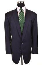 BESPOKE Clacton & Frinton Navy Blue Wool HACKING 2pc Suit Jacket Pants 44 45 XL