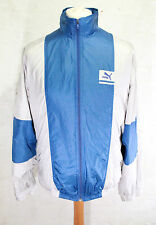VINTAGE PUMA SPORTS TRACK JACKET WINDBREAKER SILVER BLUE 90s MENS LARGE