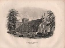 1890 VICTORIAN PRINT ~ WINCHESTER CATHEDRAL VIEW FROM NORTH WEST