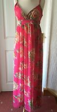 Tsega Long Strappy Chiffon Dress Pink Floral M/L Beach Party Occasion