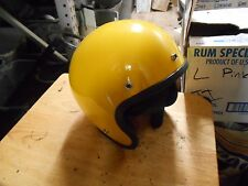 NOS Vintage Cafe Buco Solid Yellow Fiberglass Small Motorcycle Helmet 1757-2