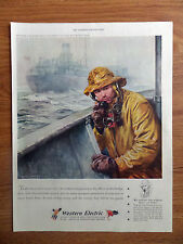 1945 Bell Western Telephone Ad Merchant Marine No 15 of a Series Wartime Service