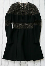 Dark Drama: Alexander McQueen £1500 Black Lace & Crepe Skater Dress IT38/UK6