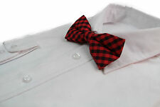 MENS COTTON CHECK CHECKERED BOW TIE PRE-TIED MEN'S BOWTIE WEDDING BLUE BLACK RED