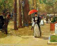 Fifth Ave at Washington Sq by Childe Hassam 8x10 Print Summer Woman Parasol 109