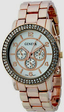 Authentic Geneva Boyfriend Watch Fashion Round Face Double Crystal Stone Around