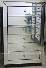 BRAND NEW Ella Modern SILVER Mirror 6 Drawer Narrow Slim Chest Tall Boy 2701S