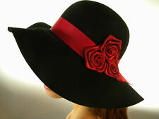 Hat New Ladies 100% Wool Felt Fedora  Black With Red Silk Bow Rose Flowers