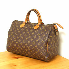 Louis Vuitton Monogram Speedy 35 Handbag in Brown Authentic LV Canvas Purse Lock