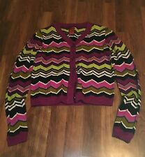 Missoni For Target Girl's Magenta & Green Chevron Knit Cardigan Size L Large