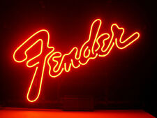 New FENDER GUITAR HANDCRAFTED REAL GLASS NEON LIGHT BEER BAR PUB SIGN A24
