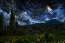 STARRY NIGHT PERSPECTIVE 24x36 poster FANTASY VINCENT VAN GOGH CLASSIC PAINTING!