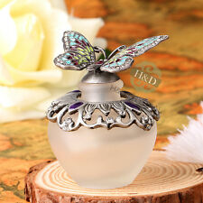 Vintage Metal Butterfly Refillable Crystal Perfume Bottle Wedding Decor Gift