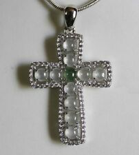CERTIFIED Natural (A) Icy White Green Jadeite JADE Cross Pendant 925 Silver #850