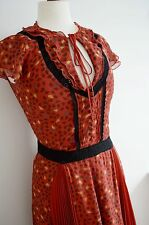 WHISTLES 100% silk TEA DRESS 1940's 1930's red gypsy boho sweetheart ww2 8 leaf