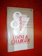 1987 DODGE CHARGER AND OMNI ORIGINAL FACTORY OPERATORS OWNERS MANUAL GLOVE BOX
