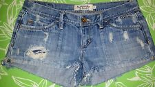 ABERCROMBIE & FITCH   Destroyed Jean Shorts  LIGHT WASH   Sz 0  USED
