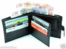 MENS SOF REAL LEATHER BLACK WALLET,COIN PURSE POUCH BEST XMAS GIFT FOR HIM - 340