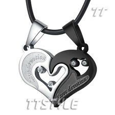 TTstyle Stainless Steel Love Heart Pendant With Multi CZ For Couple Two Chains