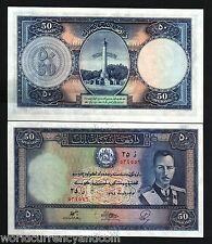 AFGHANISTAN 50 AFGHANIS P25 1939 KING ZAHIR UNC SHAH RARE LARGE SIZE MONEY NOTE