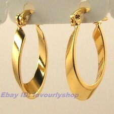 "0.86"" 3g SMOOTH OVAL 18K YELLOW GOLD PLATED HOOP EARRINGS SOLID FILL GP GEP f18"
