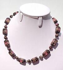 Vintage Black Venetian Wedding Cake Drizzle Glass Bead Necklace