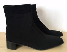 EUC STUART WEITZMAN Black Gore-Tex Leather Suede Zip Ankle Boots Shoes Sz 8.5 M