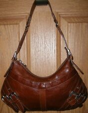 Beautiful Small Cognac Brown Firenze Hobo Shoulder Bag Purse Made in Italy