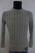 NV1488 Women Vintage Superdry Cable Knit Crew Neck Cotton Jumper Size M
