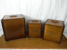 Vintage Mid Century Modern Danish Solid Wood Canister Set w/ Removable Liners
